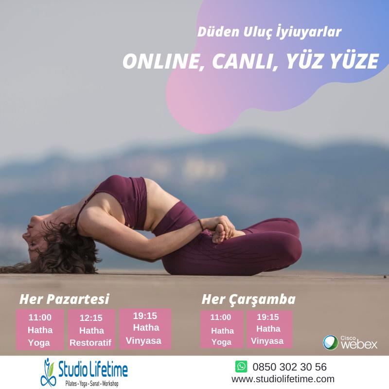 Online,Canlı,Yüz Yüze Hatha yoga Restoratif yoga